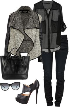 Try CAbi Moto Jegging, a pretty black blouse and the CAbi Patchwork Sweater.