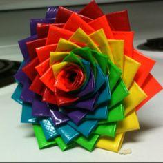 Duck tape flower pen. By:B3ccaJ3an