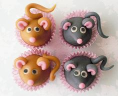 Decorate w/Adorable Marzipan Mice tutorial Cake Pops, Kid Cupcakes, Cupcake Cookies, Decorated Cupcakes, Fondant Figures, Fondant Toppers, Fondant Cakes, Fondant Animals, Frosting Tips