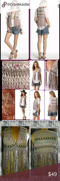 Free People Crochet Shabby chic Boho fringe vest fp crochet vest celebrate the beauty of the perfection found in imperfection.  uneven fringe quite a bit tangled .uneven weave at times . quintesential free people.  I luv this just didn't wear enuff to justify keeping few xs atm. quite delicate & that on its own doesn't work well w/me .hence tangled fringe altho the construction lends to this as well..imho an ahhsome look !  **PICS taken w/&w/OUT flash in failing natural light*** however…