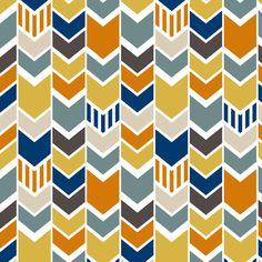 Navy Orange Yellow Chevron fabric by mrshervi on Spoonflower - custom fabric
