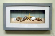 For the lower level bathroom. Shell Seashell Starfish Fish Bathroom Room Shadow Box Wall Art