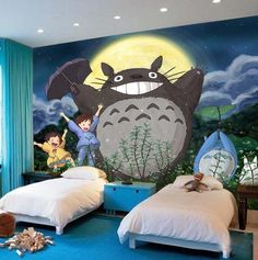 kids wallpaper totoro wall mural beddingandbeyond.club