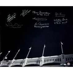 Yankees WS MVPs 9 Sig of Yankee Stadium Facades B&W 20x24 Photo (MLB Auth) (Sigs Ok Photos Scratched- No Jeter)