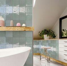 Perfect English, Metro Tiles, Pink Walls, Clawfoot Bathtub, Wall Tiles, Shelves, Bathroom, Interior, Home Decor