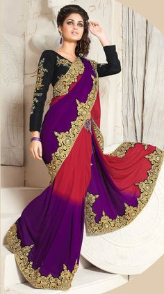 Indian Bridal Style Red & Purple Color #EmbroideredSaree