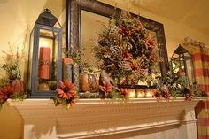 I don't have a mantel, but can do this same idea with the shelf behind the sofa…
