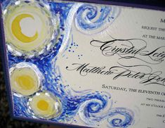 starry night wedding invitation inspired from vincent van goghs painting #starrynight #wedding