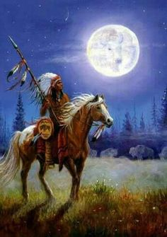 Native warrior riding horse under moon
