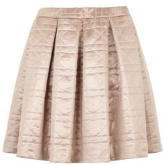 BZR Circe Quilted Skirt, Pink ($42) ❤ liked on Polyvore featuring skirts, elastic waist skirt, pink skirt, pleated skirt, flared skirt and pink knee length skirt