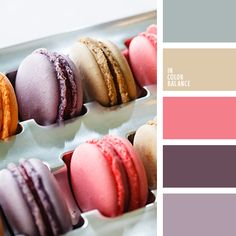 коричневый, лавандовый, лиловый цвет, малиновый, оттенки лаванды, оттенки фиолетового, серый, цвет вишневого макаруна, цвет черничных макарун, цвета ванильных макарун, цвета макарун.