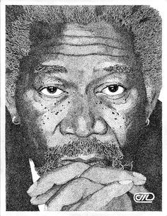 Pointillism is a technique of painting in which small, distinct dots are applied in patterns to form an image,it is known to us as dot art. It was primarily invented by painters George Seurat and Stippling Art, Observational Drawing, Ap Studio Art, Ink Pen Drawings, High Art, Pen Art, Drawing Techniques, Pictures To Draw, Morgan Freeman
