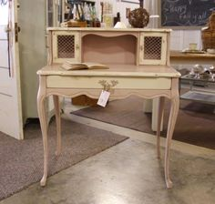 I painted this precious Queen Anne desk with Annie Sloan Chalk Paint Antoinette & trimmed in Old White!