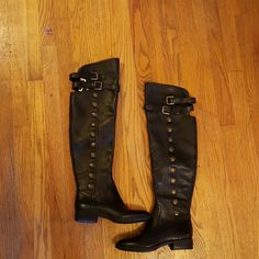 Sam edelman pierce whisky black boots sz 6.5 NWOB Black genuine leather, over the knee boots. 2 straps w/buckles. Antique buttons on outside. Half zip on inside.  Orig. $300 SOLD OUT EVERYWHERE Sam Edelman Shoes Over the Knee Boots