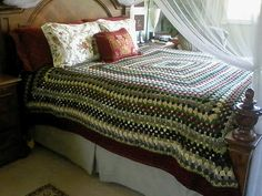 Gorgeous giant crochet granny square blanket from ravelry!