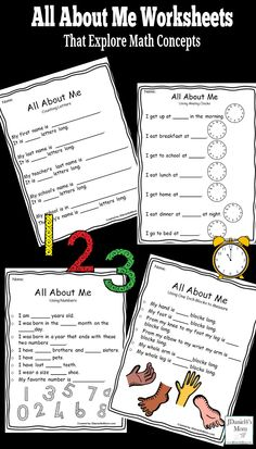 This set of All About Me worksheets invites children to explore a variety of math concepts. They would be great Back to School activities. Printable Activities For Kids, Preschool Learning Activities, Back To School Activities, Preschool Math, Teaching Math, All About Me Activities For Toddlers, Teaching Ideas, Number Activities, Math Math