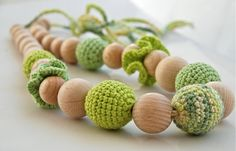 lime and mint. Crochet necklace. Teething necklace.