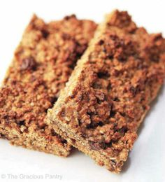 Clean Eating Recipes |  2 cups oats – roasted in the oven without oil for 10-15 minutes 1 cup peanut butter (no sugar added) 1/2 cup honey 1/2 cup apple sauce (unsweetened) 2 tablespoons grain sweetened chocolate chips 1 cup whey protein powder (unflavored or vanilla) 1 tablespoon cinnamon 2 tablespoons chia seeds