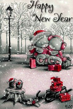 Merry Christmas & Happy New Year ! Happy New Year Animation, Happy New Year Message, Happy New Year Images, Happy New Year Wishes, Happy New Year Greetings, Merry Christmas And Happy New Year, Christmas Scenery, Christmas Design, Christmas Pictures