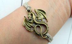 Leather bracelet charm jewelry fashion jewelry dragon by Jiadan, $0.99