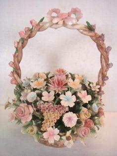 CAPODIMONTE Porcelain Basket of Flowers: :