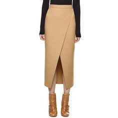 День - в 2016 мода женщины верблюд наспинный передней естественный цвет пакет бедра свободного покроя сукно миди юбка карандаш длинная юбка(China (Mainland))