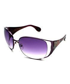 Satin Purple & Purple Mum Lola Sunglasses by Ed Hardy #zulily #zulilyfinds