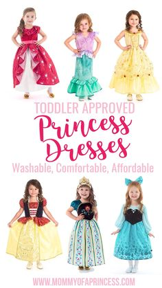 Toddler Approved Princess Dresses that are comfortable, machine washable, glitter free and super affordable! Perfect for Disney trips or daily princess wear. Toddler Dress Up, Disney Princess Dress Up, Disney Princess Toddler, Disney Dress Up, Disney With A Toddler, Princess Outfits, Girls Princess Dresses, Princess Dress Patterns, Disney Dresses For Toddlers