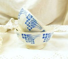 2 Vintage French Cafe au Lait Bowl, with a Blue Motif / French Coffee Bowl / French Decor