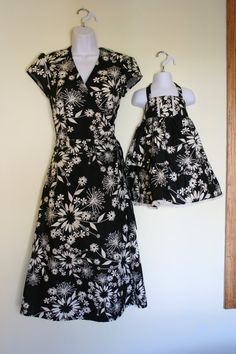 Mother and Daughter Matching Clothing, Wrap Around Dress, Mother Daughter Matching Dresses. $75.00, via Etsy.