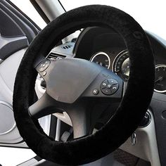 Black Sheepskin Steering Wheel Cover- Zone Tech Plush Stretch On Vehicle Faux Sheepskin Steering Wheel Cover Classic Black Car Wheel Protector Jeep Wrangler, Mustang, Chevy, Volkswagen Routan, Honda, Gif Disney, Cafe Racer Build, Car Accessories For Girls, Accessories Online