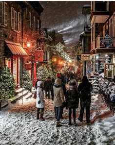 Image may contain: one or more people, snow and outdoor Christmas In The City, Christmas Town, Christmas Scenes, Winter Christmas, Quebec City Christmas, Christmas Jesus, Winter Magic, Winter Snow, Winter Time