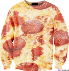 Someone buy this for me. The Pizza Sweater lets you look as greasy on the outside as you feel on the inside. Crazy Outfits, Cool Outfits, Merry Chritsmas, Pizza Shirt, Ugly Sweater, Sweaters, Weird Fashion, Looks Cool, Sweater Weather