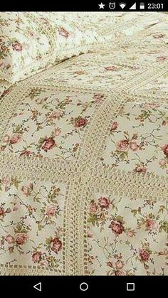 Crochet Fabric Quilt Blanket F Crochet Bedspread, Crochet Fabric, Crochet Quilt, Crochet Granny, Crochet Blanket Patterns, Crochet Crafts, Crochet Projects, Quilt Patterns, Block Patterns