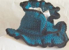 Teal Blue Cowl Scarf hand knit using soft by BlackRavenCreations