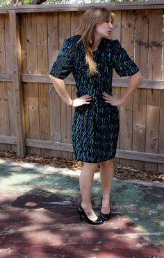 1980s Black Party Dress with Blue and Green Sequins (Size L) **FREE SHIPPING**