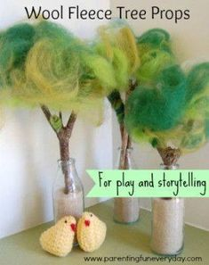 Magic Wool Fleece Trees used as story props help a story to come alive. I love these tree story props made from sticks and magic wool fleece. Waldorf Crafts, Waldorf Toys, Waldorf Playroom, Felt Crafts, Easy Crafts, Spring Nature Table, Diy For Kids, Crafts For Kids, Tree Story