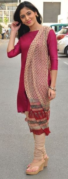 A simple salwar paired with wedges. ♥