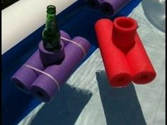 Floating coozies made out of cut up pool noodles.