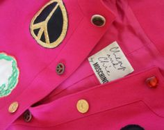 Moschino Cheap & Chic vintage Rare jacket pink wool badges heart question…