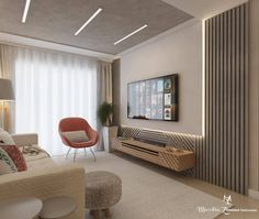 Living room / TV In this project we use ripadinho in a different way, in addition to . Living Room Interior, Home Interior Design, Living Room Decor, Modern Tv Wall Units, Living Room Tv Unit Designs, Bedroom Bed Design, Hall Design, House Design, Room Store