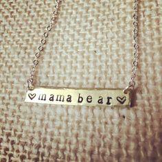 Mama bear jewelry-mama bear necklace-bar jewelry-mom jewelry-mom necklace-mom to be-expecting mom-hand stamped-handmade by JEMJewelryDesign on Etsy