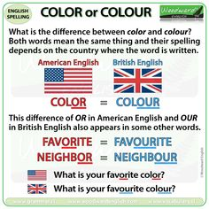 What is the difference between COLOR and COLOUR? We look at the difference between American English and British English spelling. English Grammar Rules, English Spelling, English Vocabulary, English Language, Second Language, Spelling Lists, Spelling Words, English Teaching Materials, Teaching English
