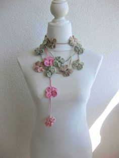 Crochet Lariat Scarf Flower Lariat Scarf Long Necklace by blitz68, $19.00