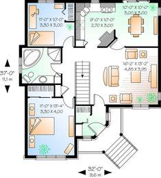 European Plan: 1,019 Square Feet, 2 Bedrooms, 1 Bathroom - 034-00912 Single Level Floor Plans, Small House Floor Plans, Pole Barn House Plans, House Plans One Story, Bungalow House Plans, Best House Plans, Craftsman House Plans, Modern House Plans, Vestibule