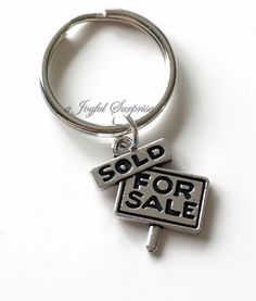 Real Estate Agent KeyChain Sold Sign Keychain House Sale Keyring New Realtor First Home Birthday Present Christmas Gift Purse Charm Planner By