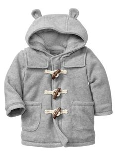 Gift idea/ to help prepare him for his first winter----- Bear fleece duffle coat Baby Girl Fashion, Kids Fashion, Baby Boy Outfits, Kids Outfits, Baby Coat, Duffle Coat, Baby Kids Clothes, Baby Time, Kind Mode
