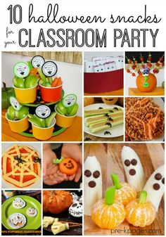 Healthy Halloween Party Snacks for your Classroom Party in Preschool or Kindergarten. Make your party a sugar free success using these yummy snack ideas for fruits, veggies and more!