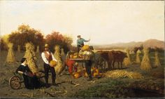 Painting of a farming scene by John Whetten. In the painting, four people are harvesting pumpkins. Cattle are pictured in the painting also.