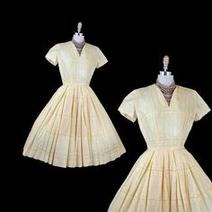 1950s Dress SPINDERELLA Vintage Yellow Cotton Roses by jumblelaya, $132.00